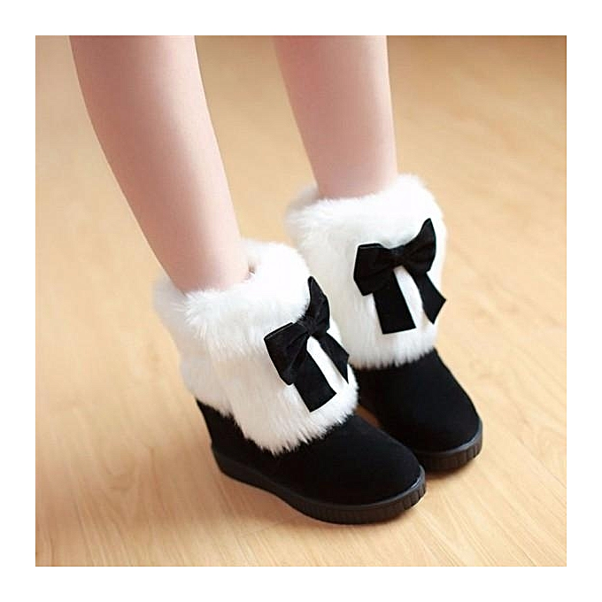 fe9f588760f5 Womens Girls Cute Bowknot Ankle Boots Warm Winter Furry Low Heel Dating  Shoes Sz