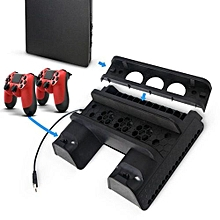 Vertical Stand With Cooling Fan Controller Charging Station 2 Port USB Hub Discs Storage For Playstation 4/PS4 Slim/PS4 Pro Console(Black)