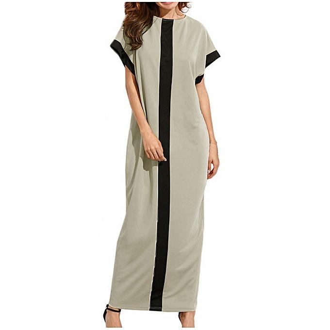 6406fbe723a0 paidndh store Women Dye Print Side Split Loose Long Dress Curved Short Sleeve  Dress-Khaki