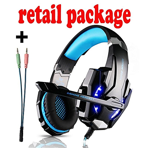 0771026f4a5 Generic KOTION EACH Stereo Camouflage 3.5mm Gaming Headset Noise Cancelling  Headphones with Mic LED Light for PS4/PC/Xbox One/iPad/PSP(G9000 blue cable)
