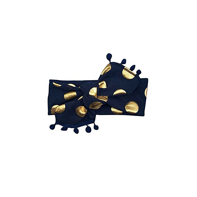 3bb6429a9f3 ... Braveayong Kids Girls Baby Headband Toddler Bowknot Gold Dot Hair Band  Accessories Headwear - Navy