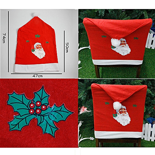 6d4fba1d426c8 MUYI 1pc Non-woven Santa Hat Chair Covers Christmas Decor Dinner Xmas Cap  Sets Red