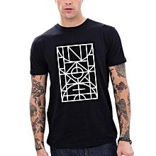 New Fashion Men's O-neck Black Tops  Basketball Court Graphic Short Sleeve  T-Shirt Men Casual Tee