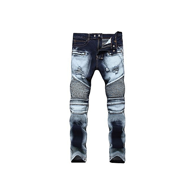 5c82eac9 Ripped Biker Jeans Men Distressed Moto Denim Joggers Washed Pleated Jean  Pants Black Blue-blue