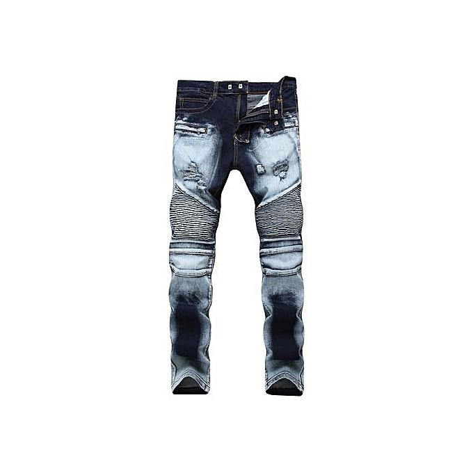dde89866 Ripped Biker Jeans Men Distressed Moto Denim Joggers Washed Pleated Jean  Pants Black Blue-blue
