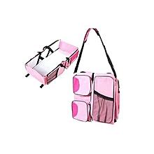 4 in1 Foldable Diaper Bag, Bassinet, travel bag And Change Station- Pink
