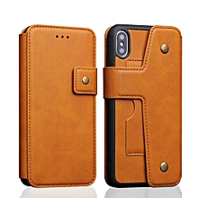 Cowhide Texture Magnetic Absorption Detachable Horizontal Flip Leather Case for iPhone XS Max, with Holder & Card Slots & Wallet (Yellow)