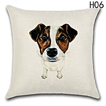 Hequeen  Cute Pet Dog Cotton Linen Pillow Cover Home Decoration Sofa Square 18 Inch Pillowcase Car Cushion Cover