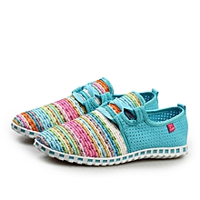 TB Breathable Mesh Sport Shoes Rainbow Color Rubber Outsole Anti-slip Women cyan