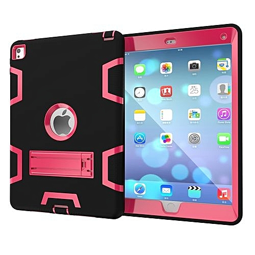 sale retailer c0c8c f6b23 For Ipad 6 Case, Armor-Box Three Layer Heavy Duty Rugged Hybrid Protective  With KickStand Case For IPad Air 2 (Black/Rose)