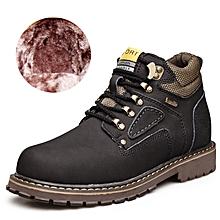 Winter Men Outdoor Hiking Mountain Shoes Leather Fleece Warm Up Men Trekking Shoes Waterproof Wearable - black
