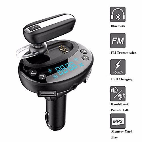 Wireless Bluetooth Receiver Car Kit FM Transmitter Radio Adapter with  Bluetooth Headset Handfree Earphone Kit Private Talking Dual USB Car  Charger By