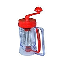 Manual Pancake Machine Cake Batter Mix & Dispenser With Measuring Label -Red and Clear.