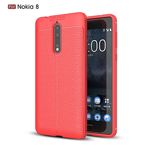 low priced 128d7 740cf Nokia 8 Silicone Case, Litchi Pattern TPU Anti-knock Phone Back Cover For  Nokia 8 - Red.