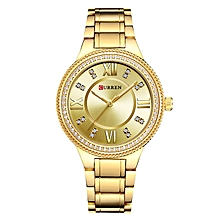 Gold Waterproof Women Luxury Quartz Movement Bracelet Brand Wristwatch