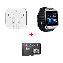 DZ09 Smart Watch Phone With Free 8 gb memory card And Earphone - Black
