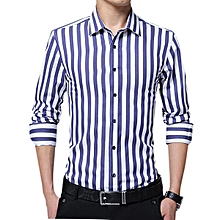 Business Stripe Printing Long Sleeve Slim Button up Shirts for Men