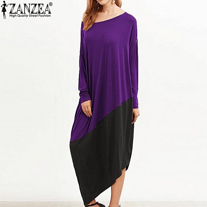 edeca96e54b1 Plus Size S-5XL ZANZEA Women Round Neck Long Sleeve Loose Casual Kaftan  Vintage Asymmetrical