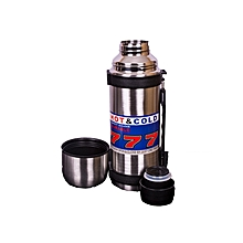 1.1L Stainless Steel Double Wall  Hot Or Cold Thermos Flask - Silver-777
