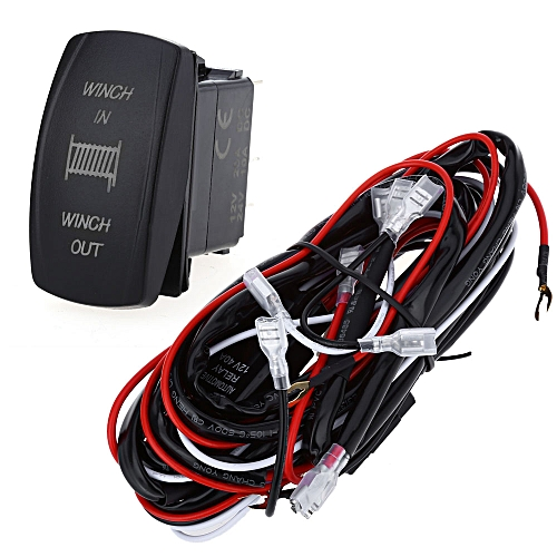 generic 5pin car relay wiring harness loom kit with led light bar s011-z  winch in/out - black