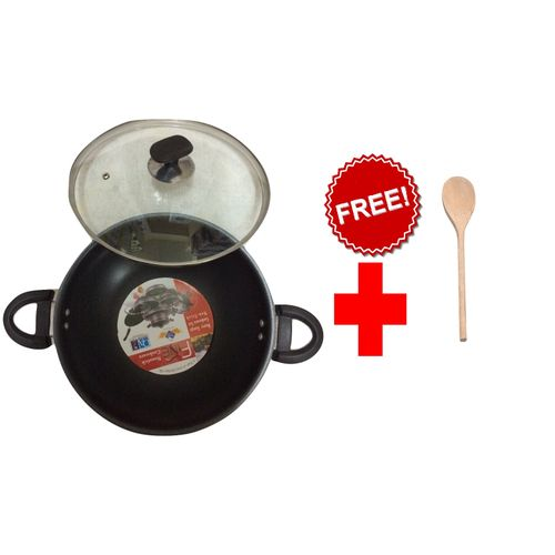 Fine Wok / Karhai , Glass lid - 30 cm - Black + FREE Cooking Wooden Spoon