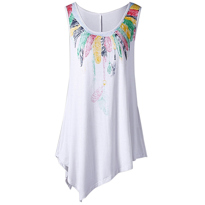 68c5159dff8860 Hiamok Women Loose Leisure Plus Size Feather Print Asymmetric Sleeveless  Tunic Vest Top