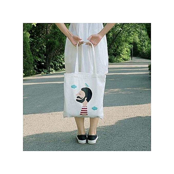 0febe6f2ac bluerdream-Women Creative Printing Shoulder Bag Canvas Handbag Totes  Shopper Travel Bags D- White ...