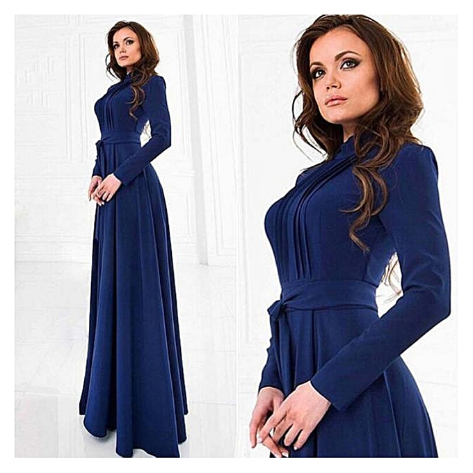 30ad6d62bc2 Hiaojbk Store Women Solid Long Sleeves Slim Maxi Dress Cocktail Party  Dresses L-Dark Blue
