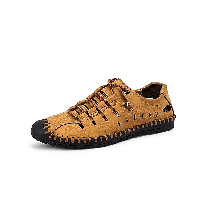 ab73eb5fe601 SocNoDn Men Fashion Casual Male Leather Hiking Sandals Shoes Brown ...