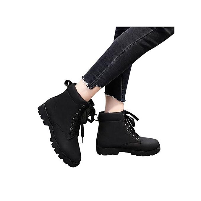 a9df9f7e4e23 ... Jiahsyc Store Women's Ladies Fashion Flat Ankle Lace-up Martin Short  Boots Bootie Shoes ...