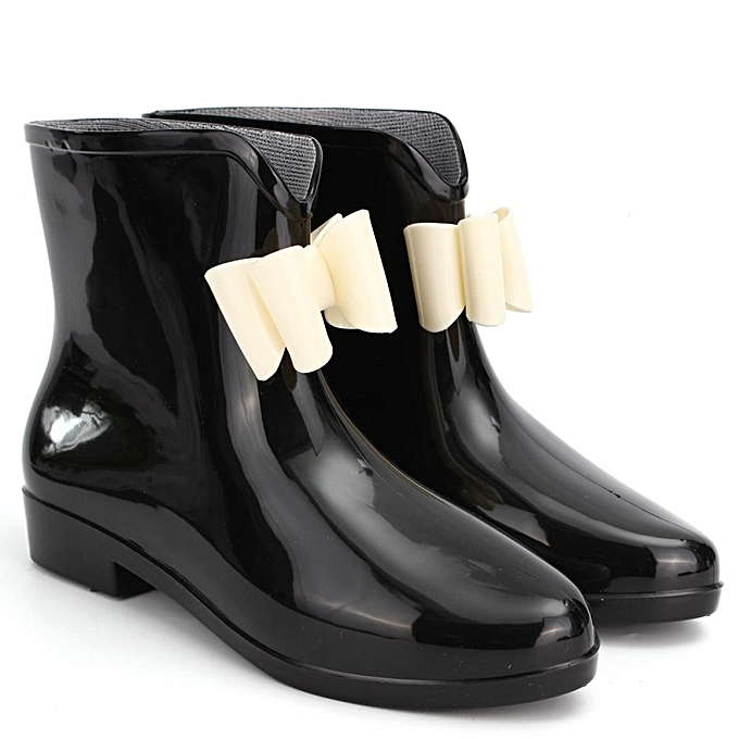 e85cf19d7e459 ... Women Heel Rubber Rain Shoes Ankle Boots Waterproof Wellies Wellington  Boots BLACK ...