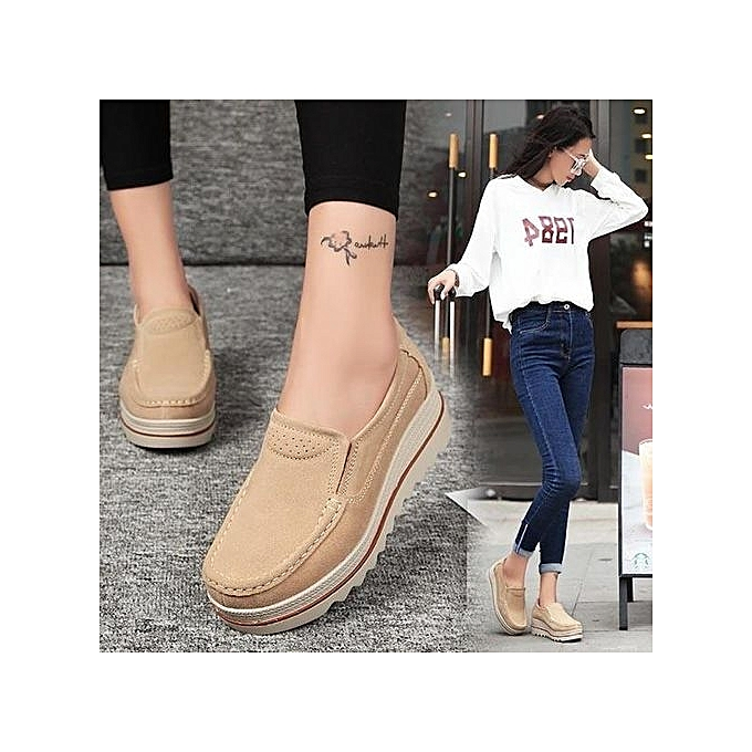 8fb4e59f0214 Fashion Womens Breathable Suede Round Toe Slip On Platform Wedges Shoes