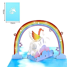 3D Pop Up Birthday Cards Laser Cut Post Card For Party Decoration blue