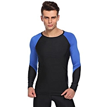 Men Contrast Color Raglan Long Sleeve Compression Shirt Sports Training T-Shirt ( Blue )