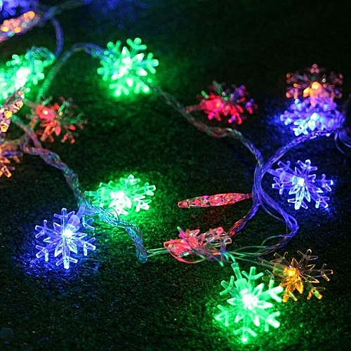 Generic Christmas Day Decorative Lights 40LED Snowflake Style String Light Outdoor Light New Year's Eve Arrangement Flashing Lights Colorful EU
