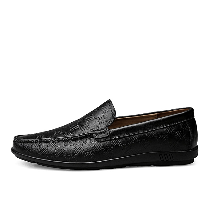 27307c572f76 SocNoDn Mens Dress Genuine Leather Loafers Casual Flat Shoes Black ...