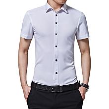 Thin Summer Breathable Formal Business Plain Plaid Cotton Top T Shirts-White