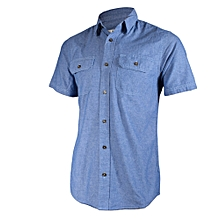 Blue Chambray Men's Short Sleeved Shirts- Freestyle Streetwear