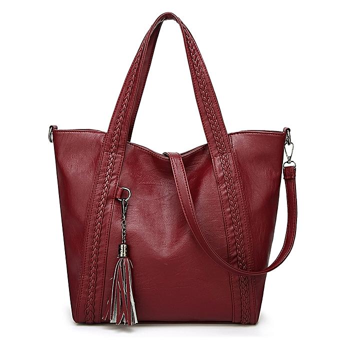 3a1dc0650f Women Shoulder Bag Handbag PU Leather Tassel Solid Crossbody Bag Casual Tote  Vintage Bag