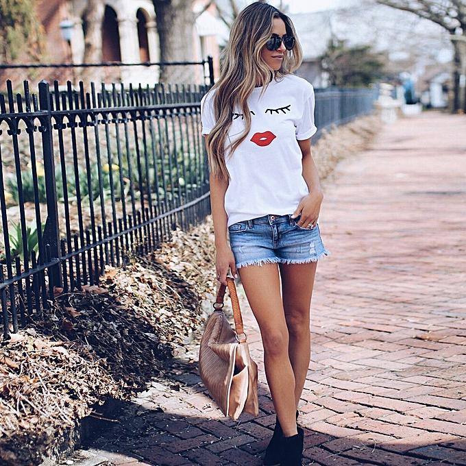 8261caa88c Checkeck Women Summer Eyelash Top Short Sleeve Blouse Casual Loose Tops  T-Shirt