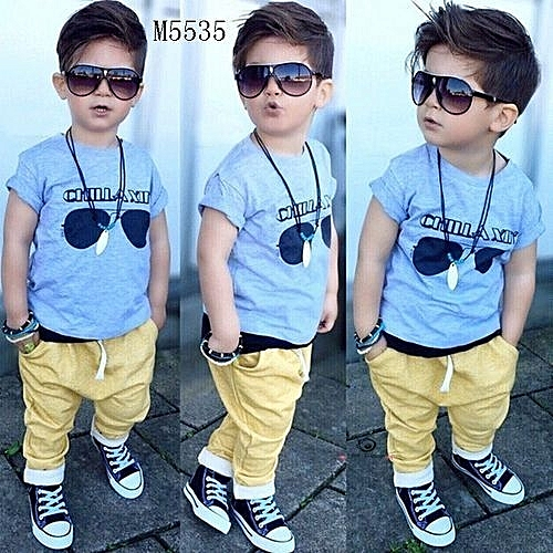 6a9803fce597 Generic New Style NEW Fashion Summer Toddler Baby Kids Boys Clothes Tops  T-shirt + Long Pants Outfits Set 0-5T