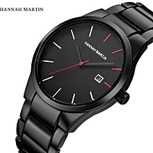 Hannah Martin Africashop Watch  Men Fashion Military Stainless Steel Analog Date Sport Quartz Wrist Watch-Black