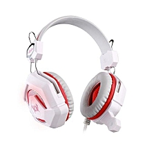 Headphone Gaming, GS210 Gaming Headphone USB 3.5mm LED Light Colorful Breathing Earphone(White Red)