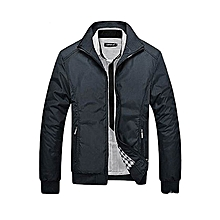 Grace Men's Casual Jacket Coat Men's Fashion Winter Long Sleeve Jacket Slim Fit Stand Collar-black