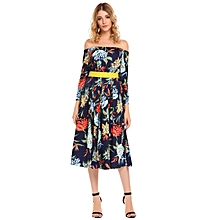 Women's Vintage Style Off Shoulder Floral Print Party Midi Pleated Dress W/ Belt ( Floral )