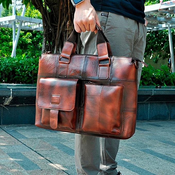 466094d8e136 Men Leather Antique Retro Business Briefcase 15.6