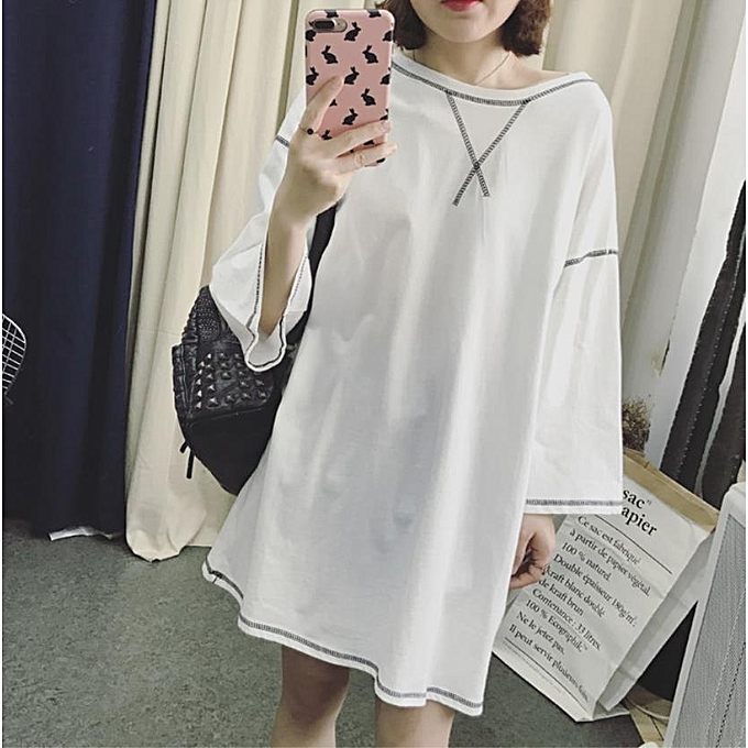 Oem Fashion Dress Plus Size Korean Style Pure Color Dress For Women