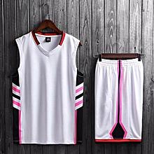 Brand Customize Name Logo Men's Basketball Team Training Top Sports Jersey Set-White