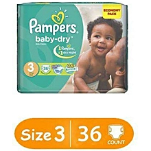 BABY DIAPERS SIZE 3(6-10kgs), 36 pieces/count VALUE PACK