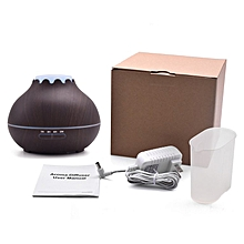 Home-400ml Aroma Essential Oil Diffuser Wood Grain Air Humidifier with LED Lights*Dark Wood Grain